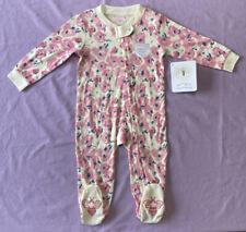 Burt's Bees  Baby Girls Organic Cotton Sightseeing Footed Pajama floral Pink