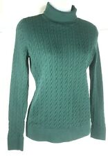 Talbots Womens Small Green Cable Knit Turtleneck Long Sleeve Sweater Shirt Top