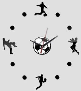 "NEW 3D 16""-34"" Soccer Ball Black Mirror Surface Acrylic Wall Clock Home Decor"