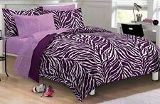 Twin XL Bedding 5 Piece Comforter Set College Girl Zebra Purple Black Microfiber