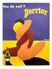 """BERNARD VILLEMOT RARE VTG LITHOGRAPH PRINT POP ART FRENCH POSTER """"PERRIER"""" 1980"""