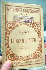 1923 HEINE 'LEGGENDE E POESIE' Traduzione di Jacopo de Juli