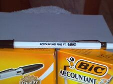 BIC CO BALLPOINT PEN ACCOUNTANT FINE PT BLACK INK SILVER CLIP WHITE BODY -1 PEN!