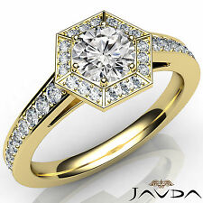 Round Diamond Engagement Hexagon Pave Ring GIA F SI1 Clarity 18k Yellow Gold 1Ct