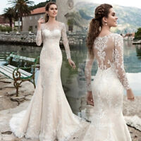 Mermaid Wedding Dresses 2019 Long Sleeve Appliques Bridal Gowns Robe De Mariee