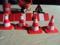 Playmobil  Construction -Vintage chantier ouvrier avec brouette pelle balai cone
