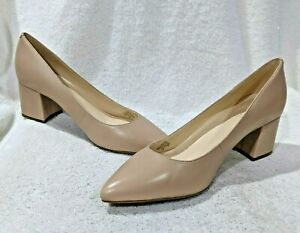 Nine West Women's ISSA Natural Leather Block Heels - Size 7.5/8/8.5/9 NWB WIDE