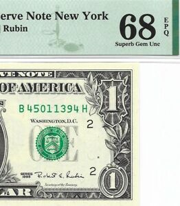 "1995 $1 NEW YORK """" WEB """" FRN, PMG SUPERB GEM UNCIRCULATED 68 EPQ BANKNOTE"