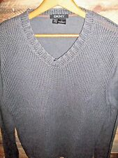 DKNY Gray 100% Medium Weight V-Neck Sweater Mens SZ L Solid
