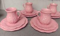 Vintage Bordallo Pinheiro Portugal Pink Cabbage 12 pc: plates mugs Near MINT