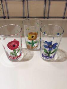 SET 3 NEW ANTHROPOLOGIE CAROLYN GAVIN FLOURISH BLOOM THRIVE INSPIRE JUICE GLASS