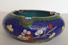 Antique Chinese Art Cloisonne Brass Enamel Floral Blue & Turquoise Blue Ashtray