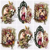 12 ART DECO LADIES Embellishments, Card Making Toppers, Card Toppers