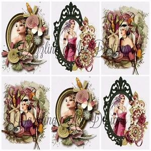ART DECO ROSE LADIES Embellishments, Card Making Toppers, Card Toppers