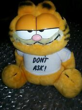 """VINTAGE 1981 DAKIN GARFIELD PLUSH STUFFED WITH TAG RARE EXC 8"""" Don't Ask shirt"""