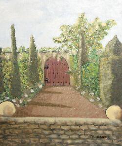 Landscape yard oil painting impressionism signed