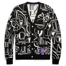 Ralph Lauren Purple Label Men's Cardigan Sweater Black White Cashmere Silk $ 2K