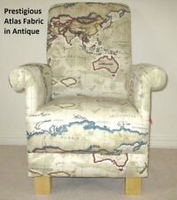 Prestigious Atlas Antique Fabric Adult Chair Armchair Beige World Map Countries