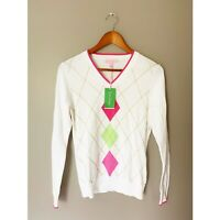 Lilly Pulitzer Womens Small Nancy Argyle V Neck Sweater White New Preppy Pink