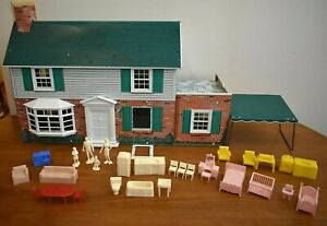 1950-60s Metal Colonial Two Story Doll House  Furniture, Dolls, Metal Awning