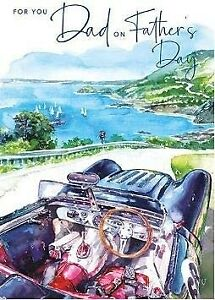 Vintage Car Painting Fathers Day Card – Coastal View Nigel Quiney Artwork