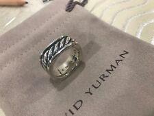 David Yurman Mens Silver Cable Squared Band Ring Size 9