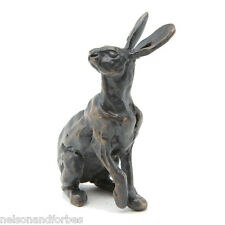 Bronze Hare Sculpture (Solid Bronze) Listening Hare Maquette by Sue Maclaurin