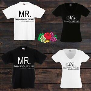 Personalised Mr & Mrs Quarantine Matching His Hers T-Shirt - # Wedding Postponed