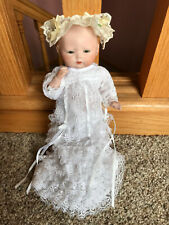"8"" Adorable antique bisque porcelain Bye Lo Tynie Baby Infant Doll Reproduction"