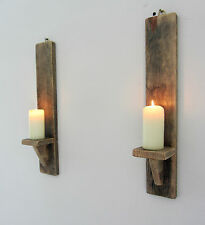 PAIR OF 45CM RECLAIMED PALLET WOOD SHABBY CHIC WALL SCONCE LED CANDLE  HOLDER