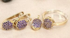 Turkish Handmade Amethyst Silver 925 Set Earring Ring Pendant 6-12