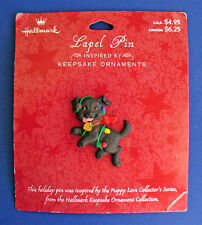 BUY1&GET1@50%~Hallmark PIN Christmas MOC DOG PUPPY LOVE Black LABRADOR Vtg