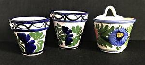 Italian Hand Painted Floral Mini Plant Planter Pots Ceramic Pottery - set of 3!