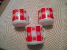 3 Vintage Federal Milk Glass Red Gingham Checkered Coffee Mugs Cups