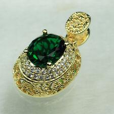 18K Yellow Gold Filled Big Emerald 4.1Ct CZ Women Fashion Necklace Pendant P3082
