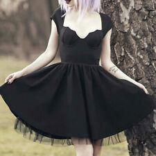 Sexy Women Gothic Black Dress Costume Steampunk Party Slim Short Dress Clothes