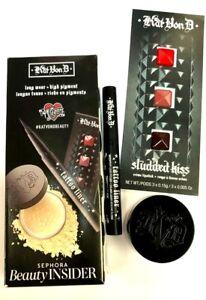 SEPHORA BEAUTY INSIDER KAT VON D 3 PC SET Tattoo Liner, Setting Powder, Lipstick