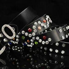 Women Rhinestone Crystal Bling Belt Waistband Genuine Leather Diamante Luxury