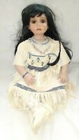 "DENISE MCMILLAN NATIVE AMERICAN PORCELAIN DOLL - LARGE 28"" - ROTATING HEAD 2002"
