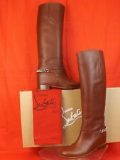 NIB LOUBOUTIN CATE FLAT CHESTNUT LEATHER SILVER CHAIN TALL RIDING BOOTS 39.5