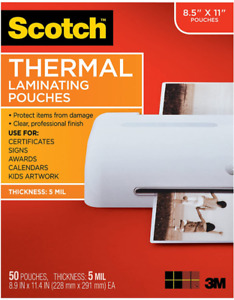 Scotch Thermal Laminating Pouches, 5 Mil Thick, 8.9 x 11.4-Inches, 50-Pack