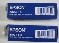 2 New Genuine Epson ERC-41 B Black Ink Ribbon Cartridges Open box ERC 41B no box