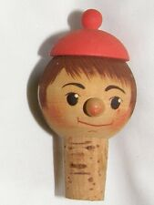 Vintage Hand Carved Painted Bottle Top Stopper looks like Pinocchio