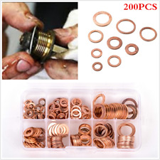 200pcs 9 Size Seal O-Ring Gasket Engine Oil Drain Plug Copper Crush Washer w/Box