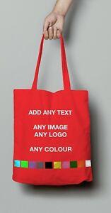 Personalised Tote Bag Custom Shopper Grocery Shopping Handbag Text Logo Photo