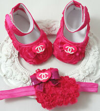 Baby Girl Crib Shoes & Headband Set, Baby Girl Shoes 6 to 9 Months