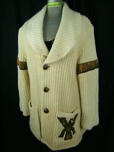 A ROBERT LEWIS IDEA Vtg 70s Cream Wool Knit Sweater Cardigan & Patched-Bust 42/S