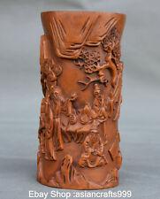 "5 ""Artisanat Chinese Boxwood vieux immortel pine Brush pot crayon vase"