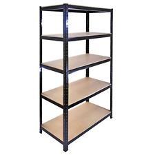 5 x 90cm Black Warehouse Storage Bays / Garage Shed Shelving / Utility Racks