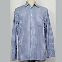 Canali Italy Blue Button Long Sleeve Check Plaid Shirt Cotton Men Sz Large L EUC